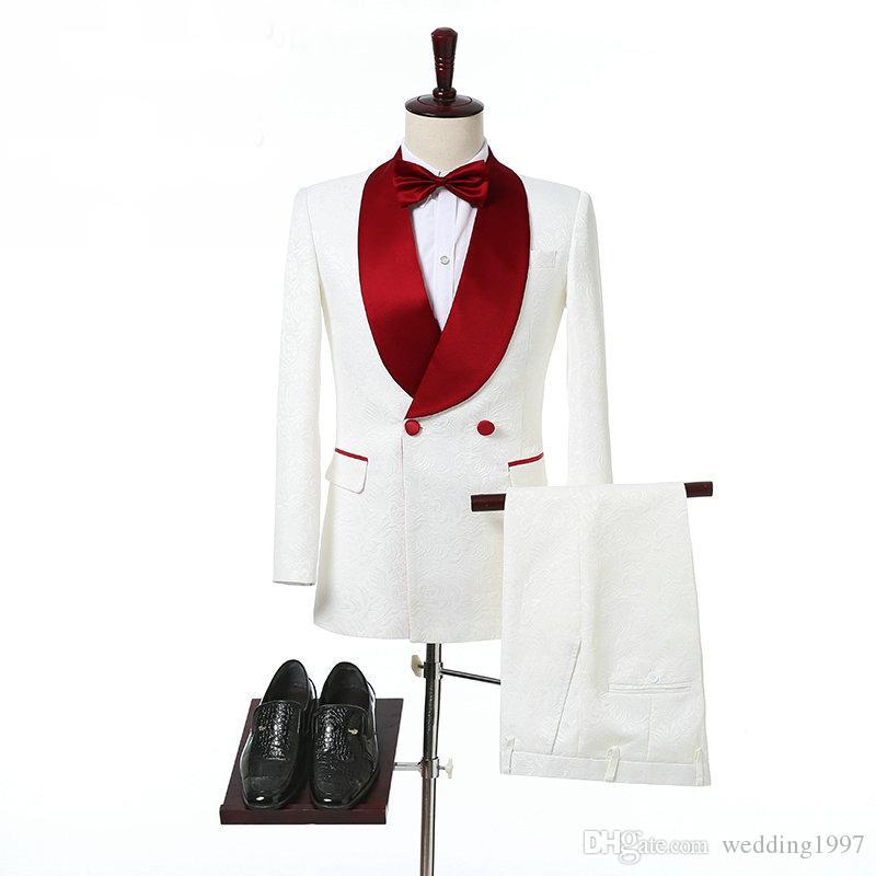 Ivory Doppio Petto smoking di nozze lo sposo scialle rosso risvolto due pezzi su ordine convenzionale degli uomini dei vestiti giacca + pantaloni