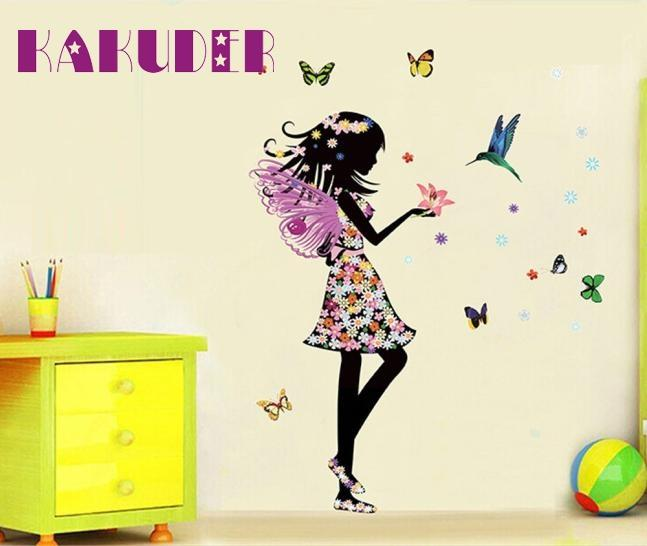 KAKUDER Angel Wings Beautiful Girl Flowers Butterfly DIY Wall Stickers for kids room Removable Home Decor u6802