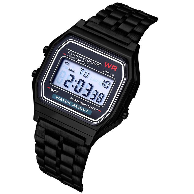 Розничные Спортивные Светодиодные Часы Мода Золотые Цифровые Часы Стальные ремень Тонкая электронная наручные часы наручных часов Браслет