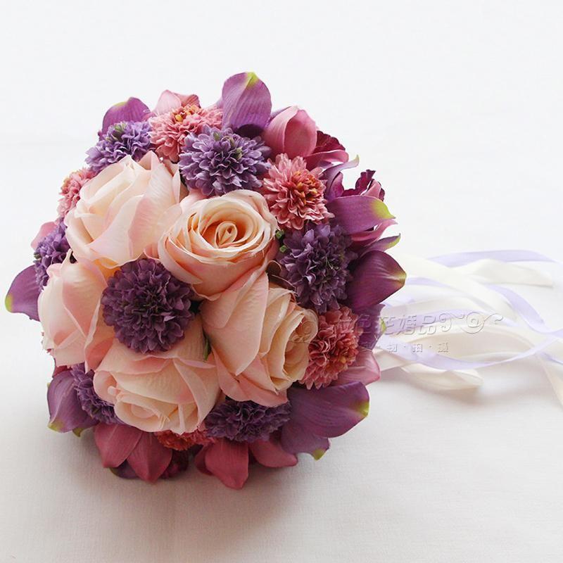 2018 Elegant Silk Wedding Bouquet Handmade Flowers Roses Cheap ...