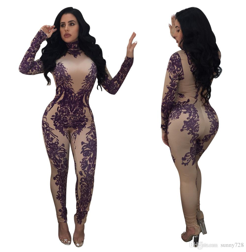 b076282b2d9 2019 Nude Colors Sexy Purple Floral Pattern Printing Night Out Women Jumpsuits  Romper High Neck Long Sleeves Skinny Party Club Pants Suits 2018 From ...