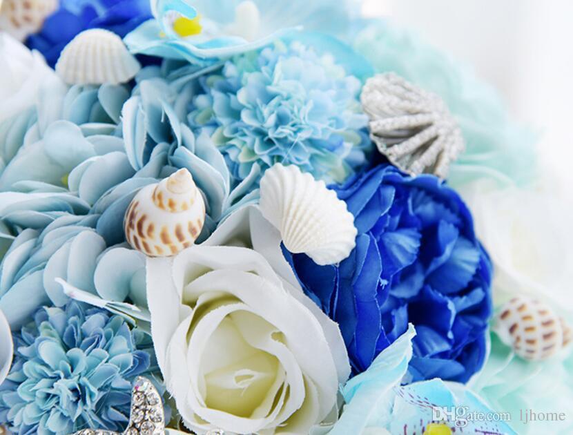 Der Stern des Meeres von Hawaii Künstliche Blumen Brautsträuße Atemberaubende Kristallstich Brautjungfer Hochzeit Bouquets Best Selling