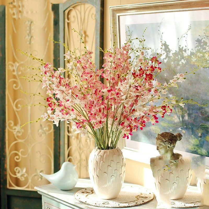 110cm Longueur Simulation Dendrobium de mariage de fleurs de soie Accueil fleurs artificielles Saint Valentin Fleur décorative