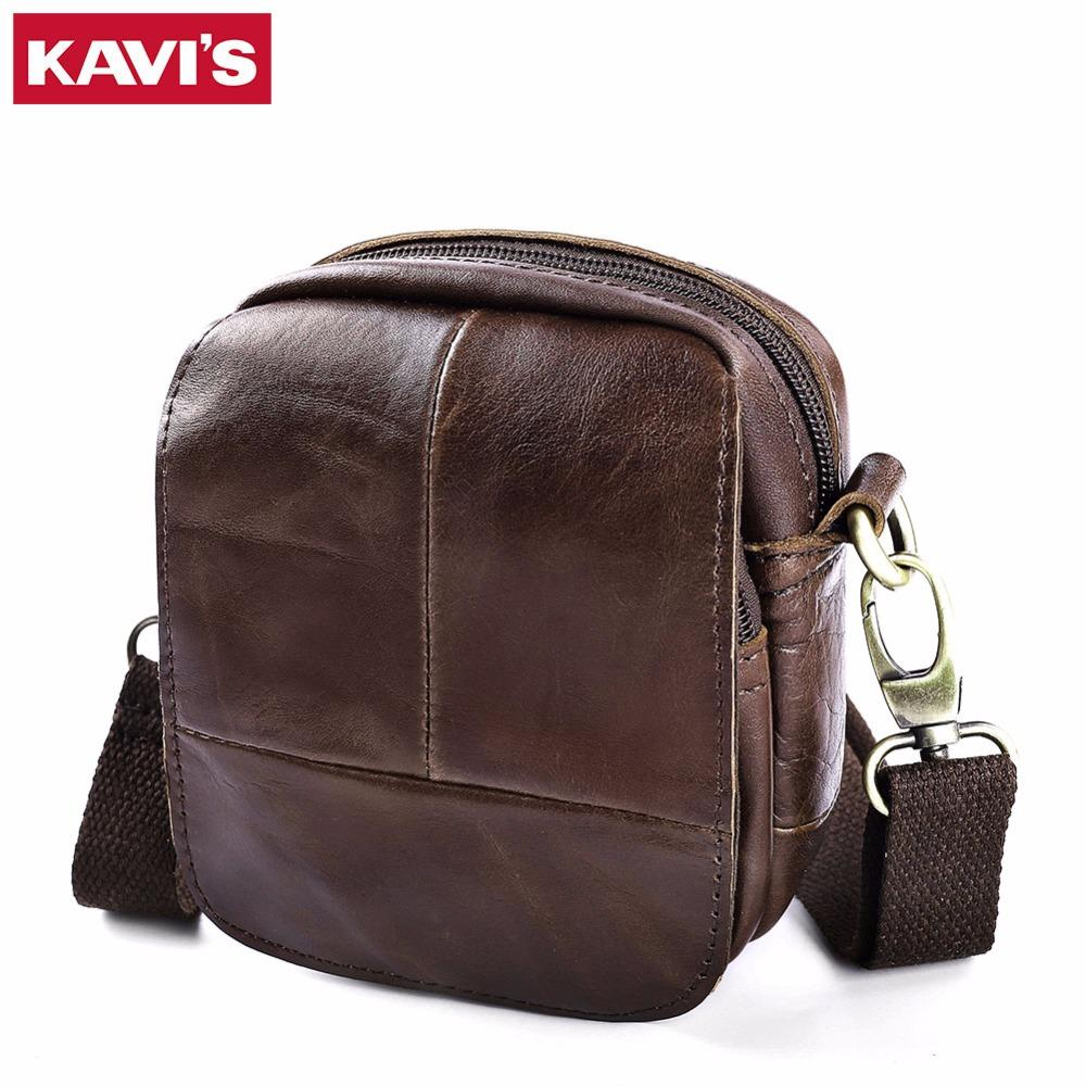 bcef88cbf5f5 KAVIS 100% Cowhide Genuine Leather Messenger Bag Original Crossbody ...