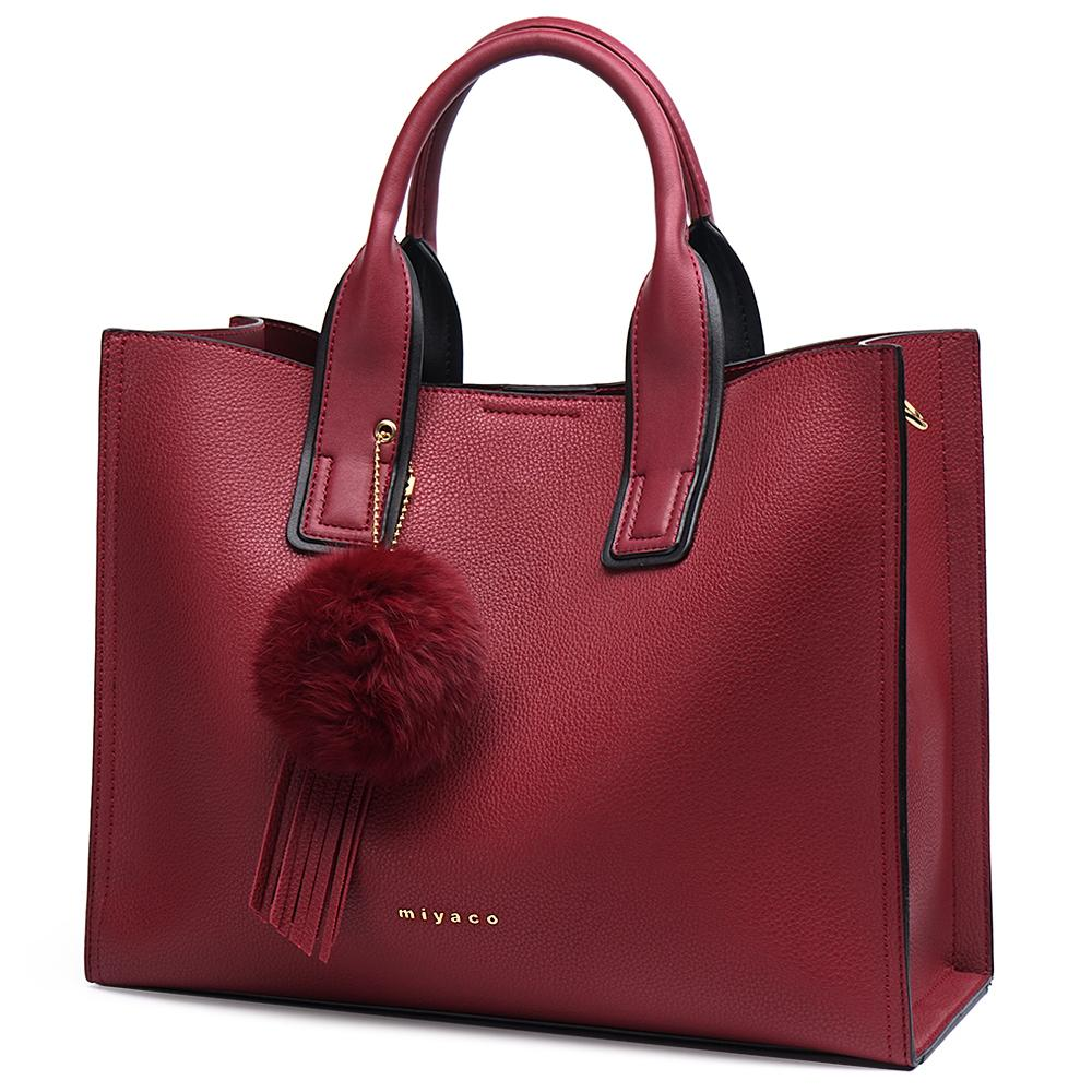 3bec21fad6f7 Miyaco Brand Women Handbag Totes Bags For Women Messenger Bag Purses And Handbags  Leather Top Hand Bag With Fur Ball Tassel Y18102304 Leather Backpack Beach  ...