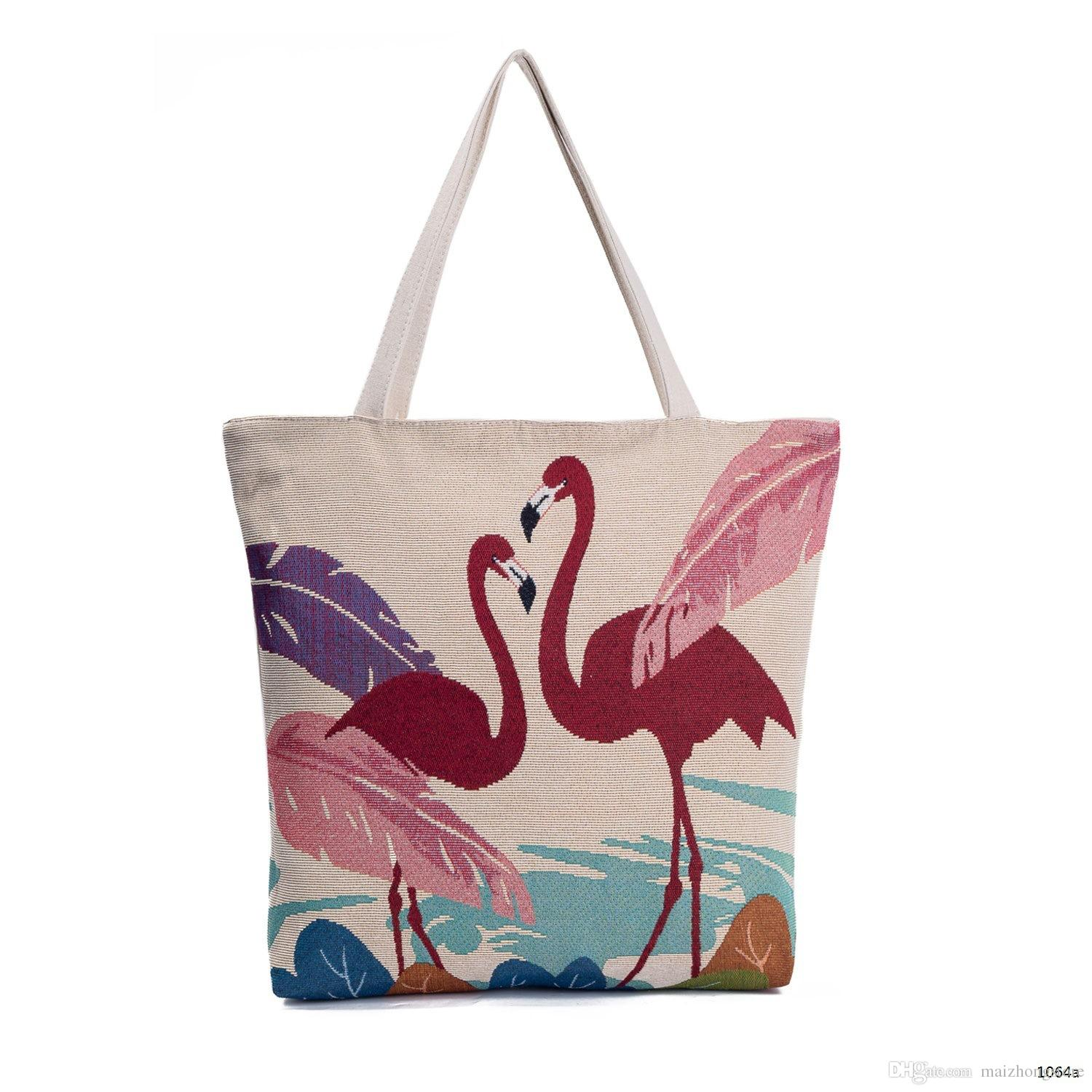 Flamingo Shopping Bag 2018 New Designer Canvas Women Handbags Large  Capacity Cheap Women Designer Bags Causal Tote Bags Handbag Wholesale  Womens Bags From ... 3812dacee8e53