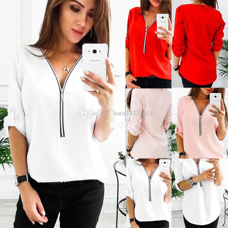 058b1b4001c2 2018 New Fashion Women T Shirts Sexy V Neck Zipper Casual Tee Shirts Tops  Female Clothing Plus Size 3XL Graphic Tee Shirts T Shirt Sayings From  Hutu74521514 ...