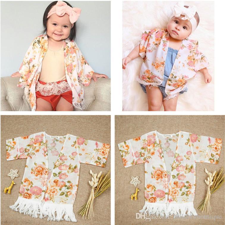 dd2d4a2a9 2018 Cute Kids Clothing Flower Tassel Shawl Cardigan Tops Outfits ...