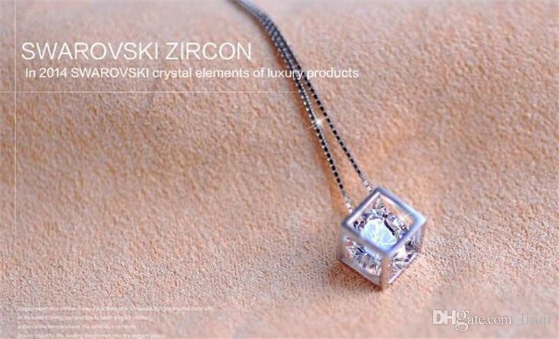 2015 Fashion 925 Sterling Silver Box Chain Austria CZ Diamond Crystal Love Magic Cube Square Shape Pendant Necklace For Women Wedding Gift