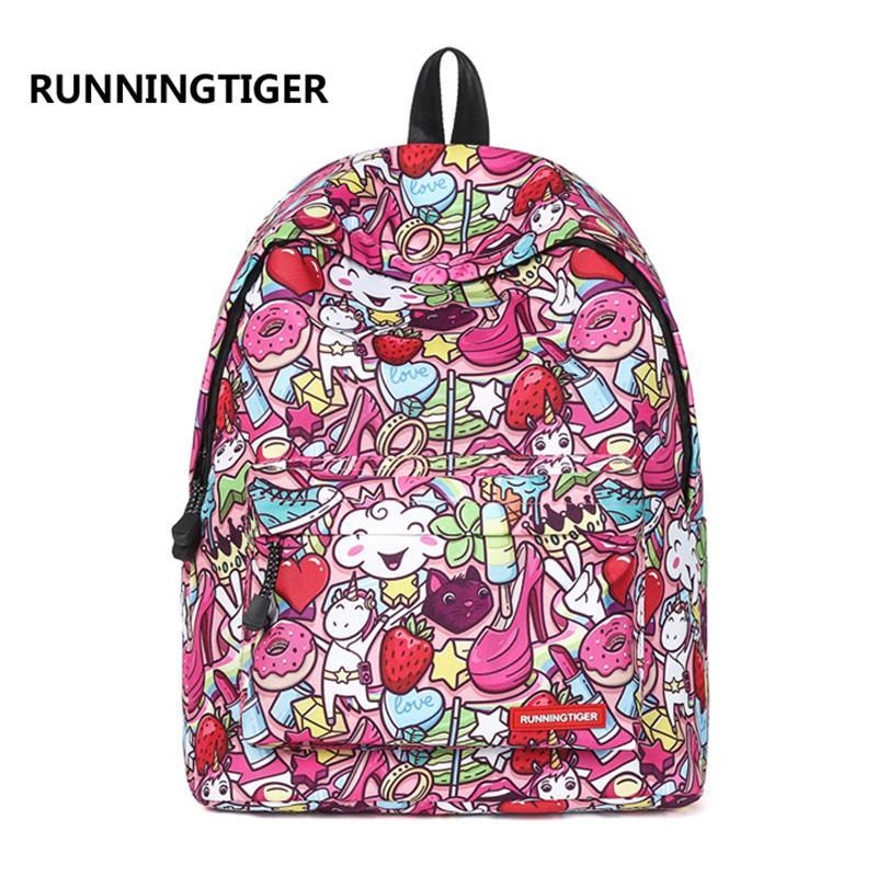 RUNNINGTIGER Cute Unicorn Printing Backpack Canvas School Bag Girl ... 28bfbf539e9b6