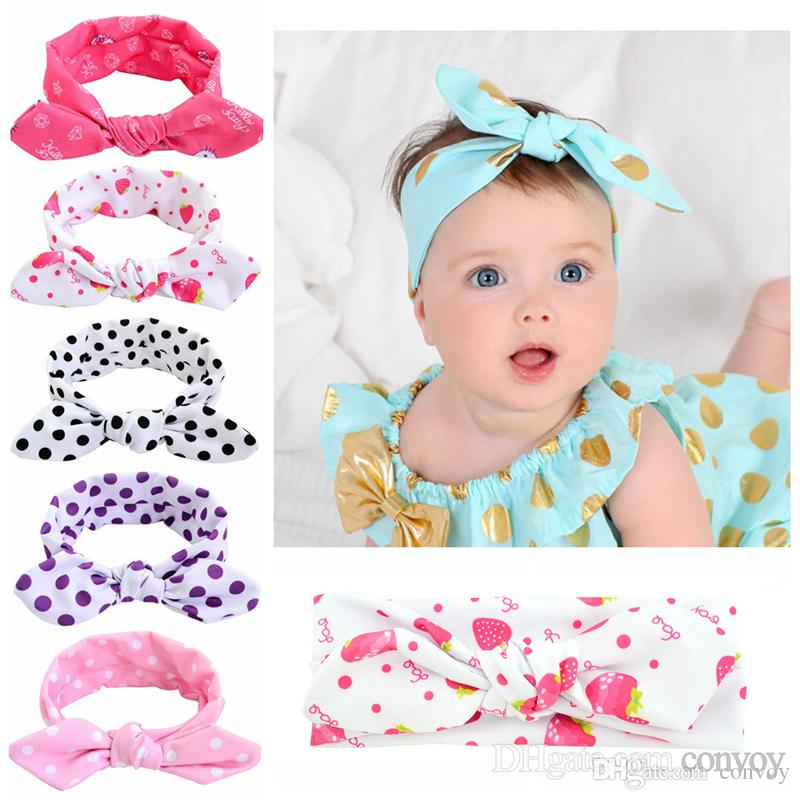 Baby Girls Headbands Bunny Ear Hairbands Kids Knotted Cotton Hairbands Children  Infant Lovely Polka Dot Hair Accessories Head Wrap KHA132 Beautiful Hair ... 7d3f2afb5124