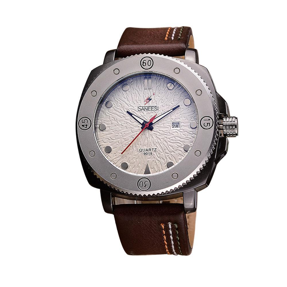 Compre Saneesi Nueva Llegada Caballero Reloj De Cuero Correa Hombres Moda  Relojes De Cuarzo Para Hombre Relojes De Lujo Marca De Fábrica Original  9019 A ... 5d8c64f5eaae