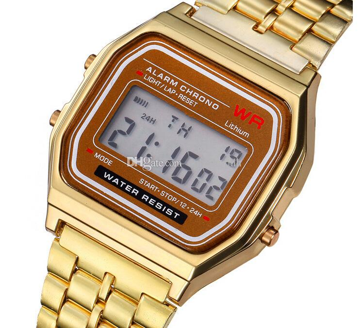 Moda F-91 W Donne Uomini multifunzione metallo orologi LED Watch ultrasottile Oro Argento Wristband Led Electronic Sports Guarda f91w