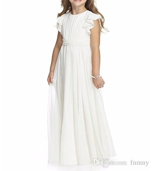 Acquista 2018 Bianco In Chiffon Avorio Una Linea Fiore Ragazze Abiti  Matrimoni Spiaggia Bambini Prima Comunione Vestito Bambina Festa Di  Compleanno Abiti A ... 952a4253396