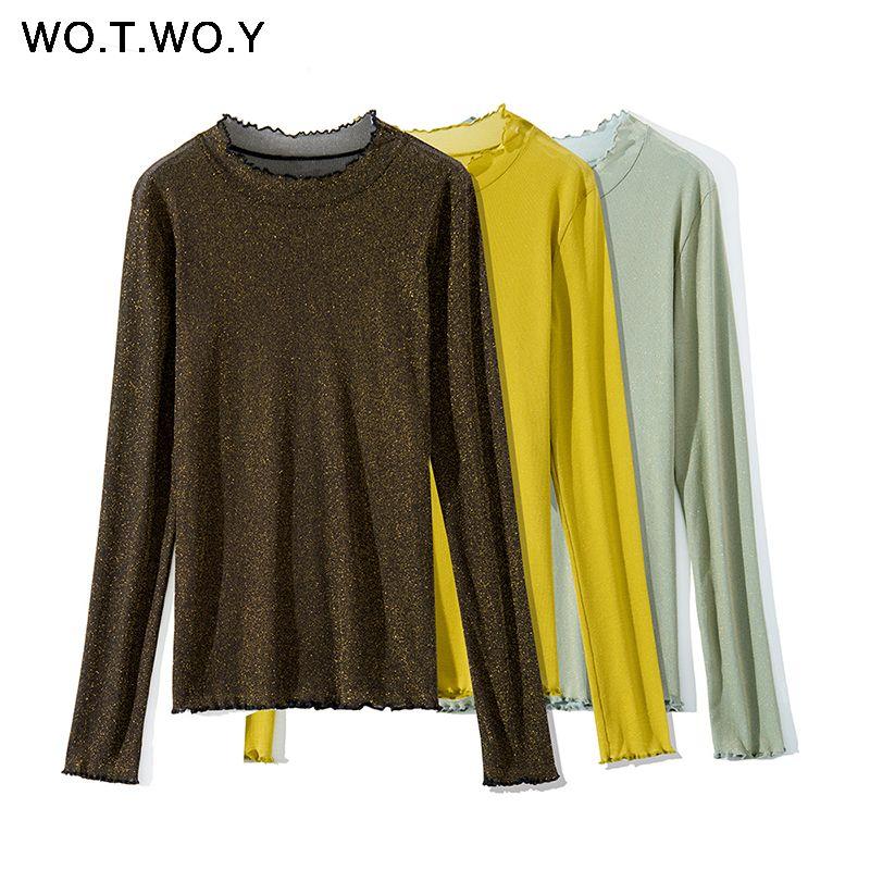 491aba575122ab WOTWOY Shiny Ruffles Long Sleeve Tshirt Women Spring Autumn Casual Lurex  Tops Female 2018 New Fashion Solid O Neck T Shirt Women Humorous T Shirt  Cool And ...