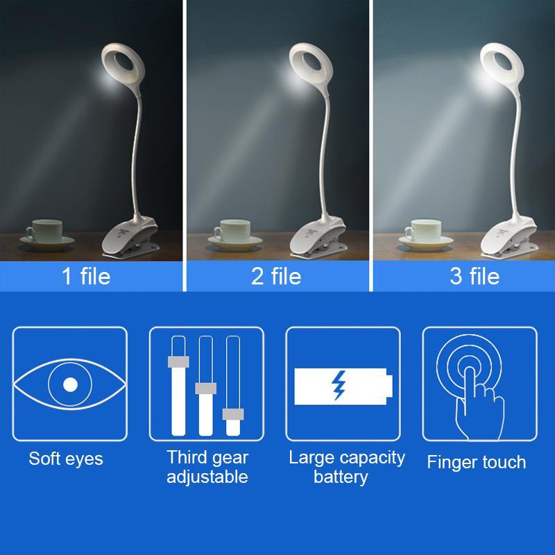 LAIDEYI Touch Type 3 Grade Gradable LED Lampe De Bureau Avec Clip USB Yeux Protéger 18 LED Lampe De Table Étudiant Étude Lecture Liseuse