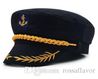 6940873c9f0 2019 Captain Navy Olive Branch Military Hats Anchor Crew Cosplay Army  Sailor Caps For Men Women Black Red White Color High Quality From  Rossaflavor
