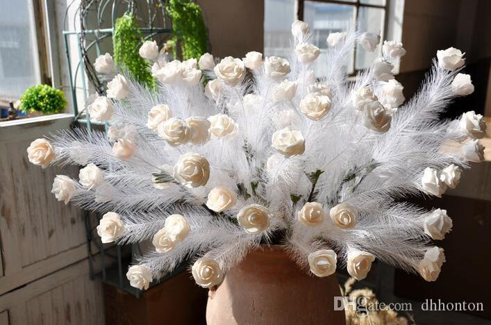 Artificial PE rose feather art vintage rose Wedding road lead to false flowers Five rose heads HR022