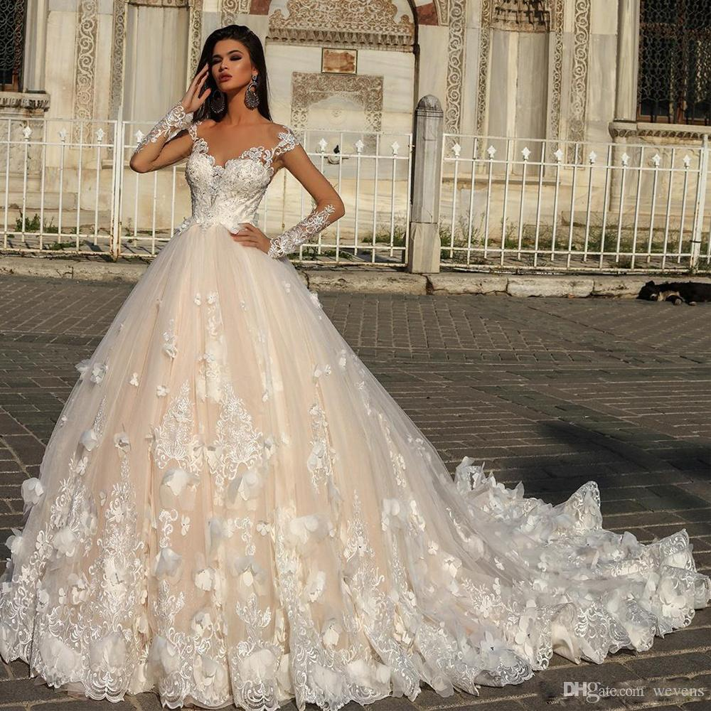 Ball Gown Tulle Wedding Gown Sexy Sheer Long Sleeves
