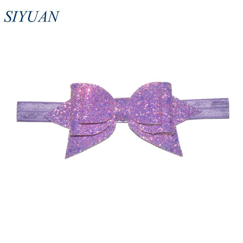1pcs / lot Ruban Élastique Bandeau avec 5 '' Boutique Glitter Sequin En Cuir Bow Fille Belle Hairband Photographie Props HB050