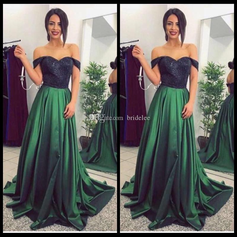 Compre 2018 Vestidos De Fiesta Con Lentejuelas Y Top Largo Negro Sexy Una Línea Falda De Satén Verde Vestidos Elegantes Con Hombros Descubiertos Traje