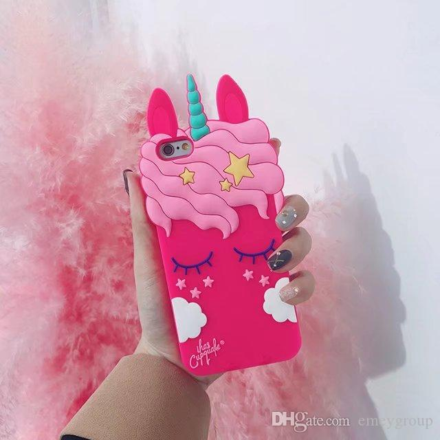 New 3D Cartoon sexy Eyelash Pink unicorn horse case For iPhone x xs max X 6s plus 7 8 plus Black White Back cover rubber samsung s8 s9 plus