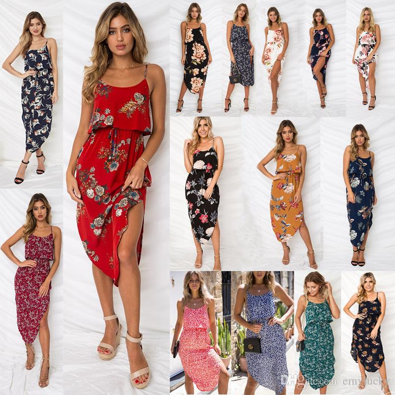 5cb2021c9c99bb Dress Womens Holiday Sleeveless Ladies Maxi Long Summer Print Beach Flora Printed  Plus Size Split Dresses Spaghetti Strap Special Occasion Dresses Red ...