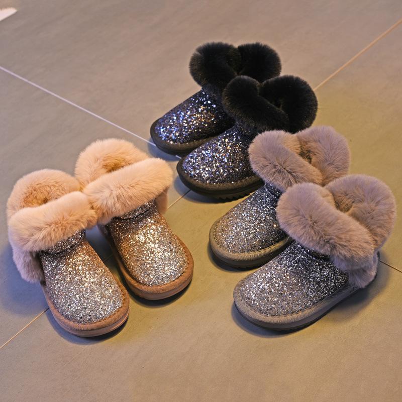 Babyschuhe Winter Warme Neugeborenen Baby Junge Mädchen Pelz Schnee Stiefel Krippe Weiche Schuhe Prewalker Reine WeißE Mutter & Kinder
