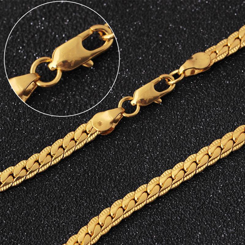ced67978b2a1 Compre Cadenas De Oro Para Los Hombres Con El Color De Relieve De Oro Venta  Al Por Mayor Trenzado Singapur DIY Collar Con Cadena Larga Para Las Mujeres  De ...