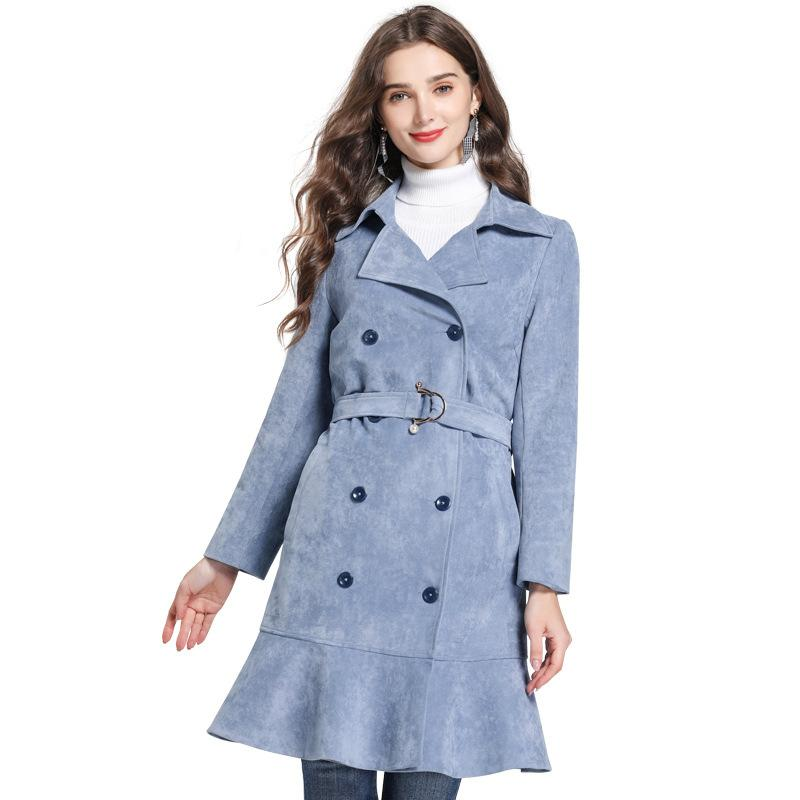 huge discount a1bfd d1e30 New arrival double breasted trench coat women light blue Ruffles hem ladies  outerwear coats plus size 5xl Sashes fashion tops