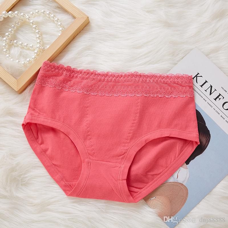 6cf448383e5 Women Underwear Cotton Plus Size Panties High Waist Lace Solid Color ...