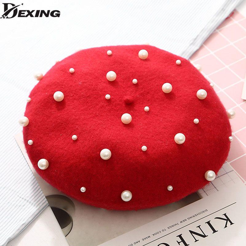 b3269ca8f8a0f7 New Wool Women Winter Berets Luxury Pearl Rivet Vintage Cashmere ...