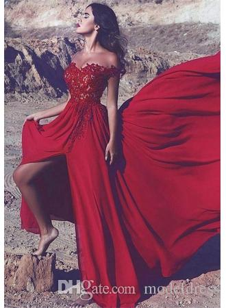 4094079e6df Sexy High Slit Red Prom Dresses 2018 Off Shoulder Appliques Beds Split A  Line Long Train Arabic Evening Party Special Occasion Gowns Cheap Wholesale  Prom ...