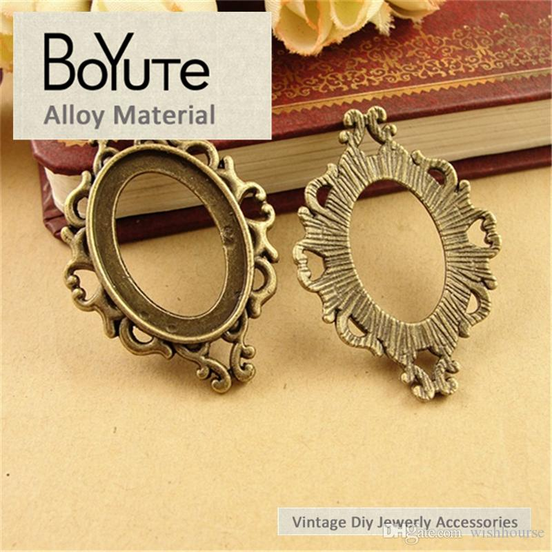 BoYuTe  25*18MM Cabochon Base Vintage Diy Accessories Parts Antique Bronze Silver Western Style Blank Pendant Setting Jewelry