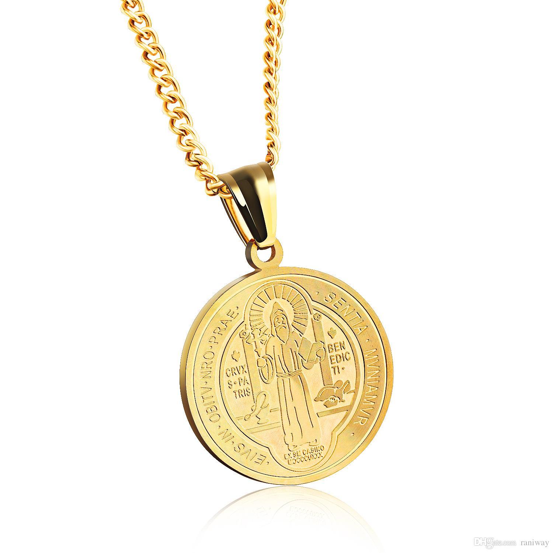 94f27fd793a4d Compre Moda Unisex Homens Mulheres São São Bento Medalhão Medalhão Pingente  De Proteção Colar De Aço Inoxidável Prata Gold Tone Statement De Raniway