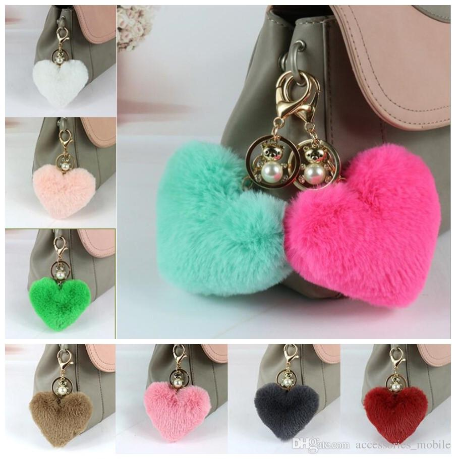 New rabbit ball heart-shaped pendant fur fashion bag wool ball keychain, mobile phone accessories and ornaments