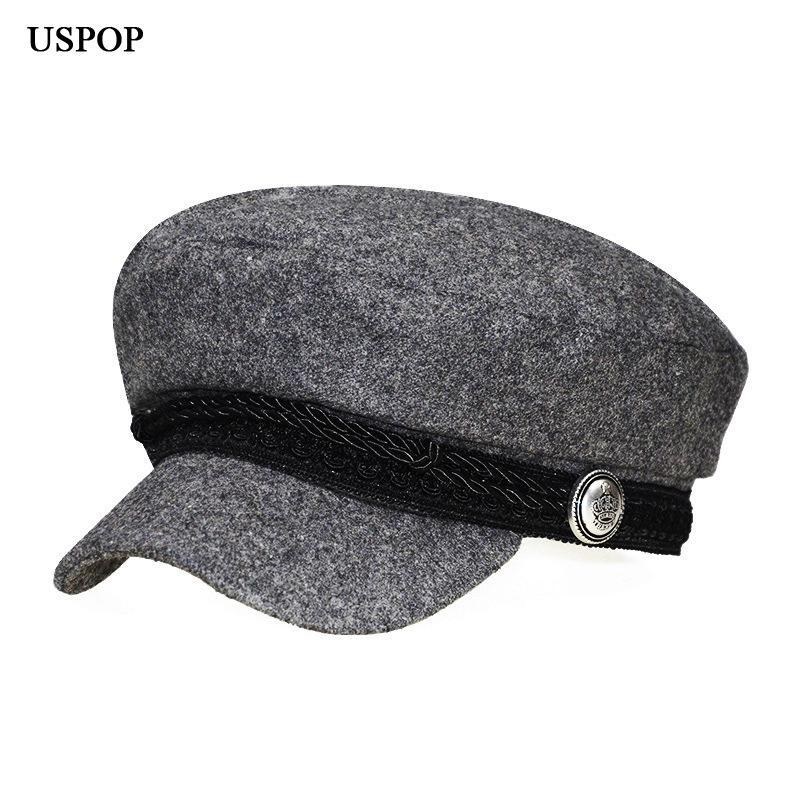 982400a7ea5f4d USPOP 2018 New Women's hat fashion female vintage wool newsboy caps flat top  visor caps woolen retro Octagonal hat berets
