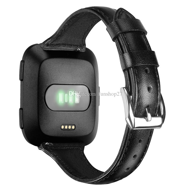 FC0194 For Fitbit Versa Quick Release Classic Genuine Leather-Extra Soft Watch Strap Replacement Wristband Smart watch