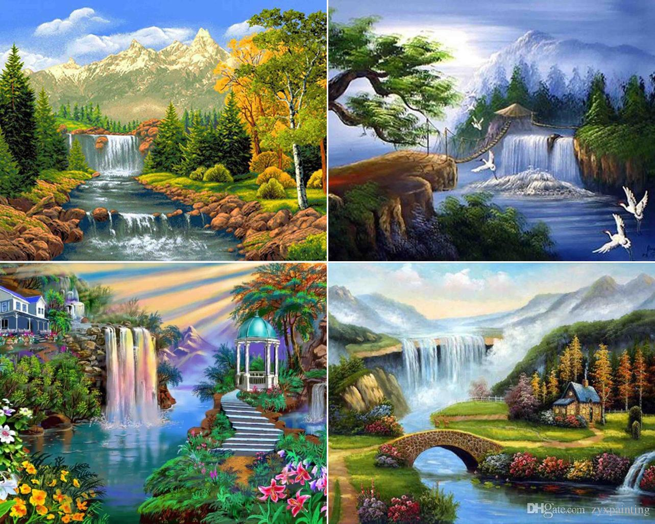 Diamond Painting Cross Stitch Red Forest Waterfall 5d Diy Diamond Painting Full Round Rhinestone Embroidery Diamond Mosaic Kit Cross Stitch Wall Home Decor A Complete Range Of Specifications