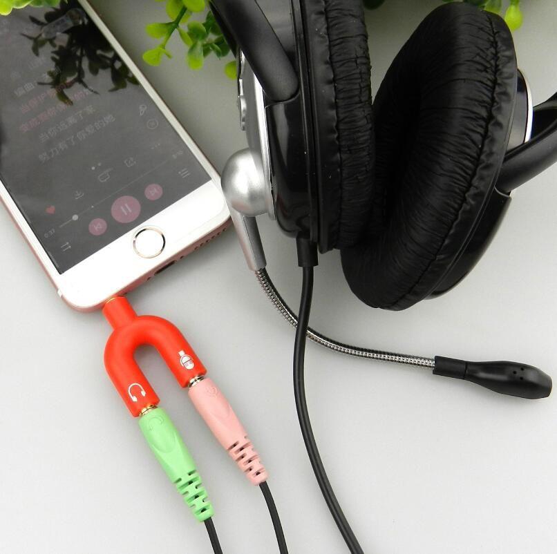 U 형 잭 3.5mm의 듀얼 3.5mm의 AUX 케이블 헤드폰 Seprator 남성으로 여성의 스테레오 오디오 이어폰 스플리터 어댑터