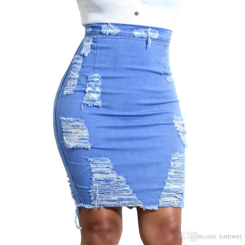 Mujeres Jeans Faldas Tallas grandes Faldas Lápiz Cintura Alta Cintura Rodilla Agujeros Rompeados 2018 Luz azul S-XXL Nueva Moda
