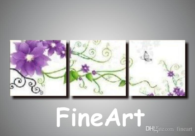 2019 Hand Painted 3 Flower Pictures Arts On Canvas Discount Wall