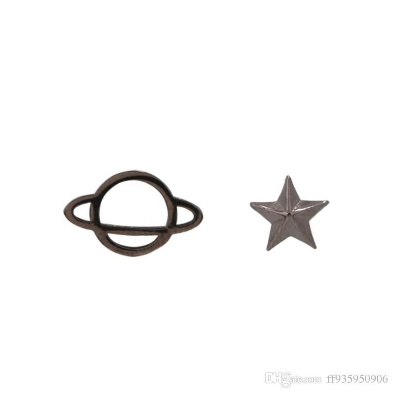 6b60f7cfe 2019 Black Asymmetrical Universal Star Stud Earrings With Pure Silver  Female Temperament Small Korea Simple Student Personality From Ff935950906