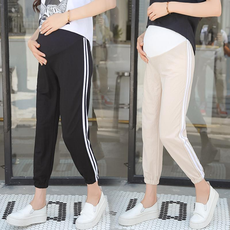 ac0f983af0761 2019 9/10 Length Summer Maternity Sports Pants Elastic Waist Belly Joggers  Capris For Pregnant Women Gym Pregnancy Streetwear From Mingway245, ...