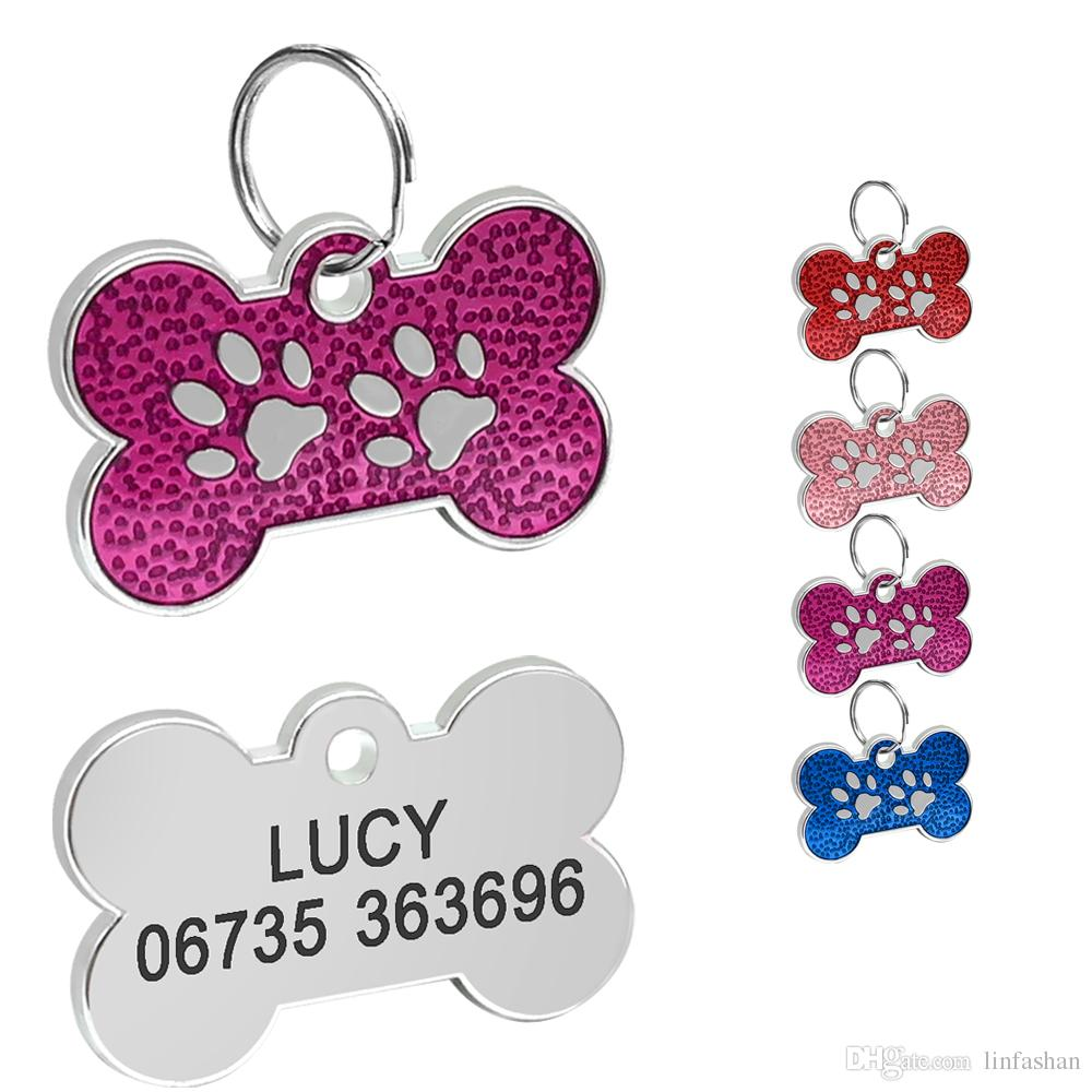 wholesale engraved dog id tag bone shape personalized anti lost cat