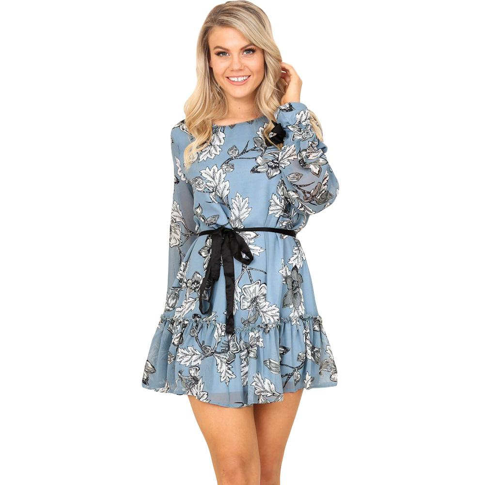efff9acb0a459 Women Mini Chiffon Dress Vintage Floral Print Frill Trim Short Dress Long  Sleeve Belted Boho A-Line Dress Blue Roupas Feminina