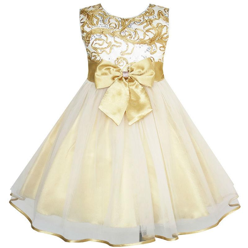2018 Sunny Fashion Flower Girls Dress Bow Tie Champagne Wedding