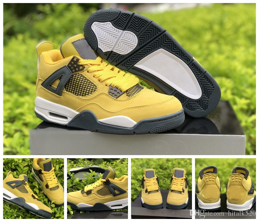 8754c6d847e9 Top Quality Travis Lightning 4s Men Basketball Shoes Suede 4 QS Yellow  Citron Mens Sneakers Trainers Chaussures US 8 13 Mens Sneakers Basketballs  From ...