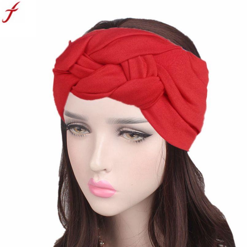 2017 Turban Headbands For Women Twist Stretch Hairbands Boho Turban Head  Warp Hair Band Wide Elastic Bandana Girls Headbands Cute Hair Accessories  Bow Hair ... 9fa4e35b09f