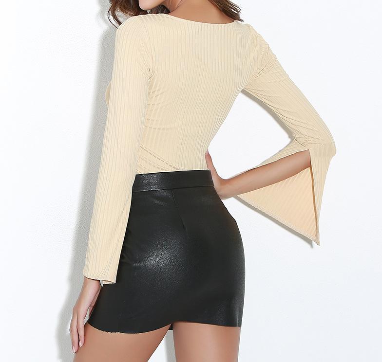 Women's Clothing Scoop Neck Slim Split Flare/Bell Sleeve T-shirt Women's Tops & Tees Female Short T-shirts